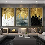Flrtc Nordic Modern Gold Canvas Painting Picture And Print Poster For Living Room Wall Art Black White Decoration Bedroom Hom