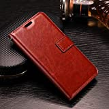 Honor 8 Lite Flip Cover Leather Case Premium Luxury Revel Touch Leather Cover for Honor 8 Lite Brown [Exclusive on Amazon]