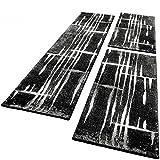 PHC Bettumrandung Läufer Teppich Meliert Design Grau Schwarz Weiss Läuferset 3 Tlg, Grösse:2mal 70x140 1mal 70x250