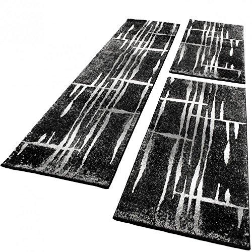 Paco Home Bettumrandung Läufer Teppich Meliert Design Grau Schwarz Weiss Läuferset 3 Tlg, Grösse:2mal 70x140 1mal 70x250