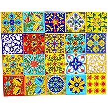 Shiv Kripa Decorative Ceramic Mosaic Tiles (2x2-inches, Multicolour) - Pack of 20