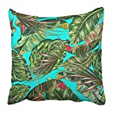 TEPEED Throw Pillow Covers Print Blue Hawaii Tropical Palm Leaves Jungle Leaf Floral Pattern Green Vintage Aloha Banana Beach Beauty Polyester 18 X 18 Inch Square Hidden Zipper Decorative Pillowcase