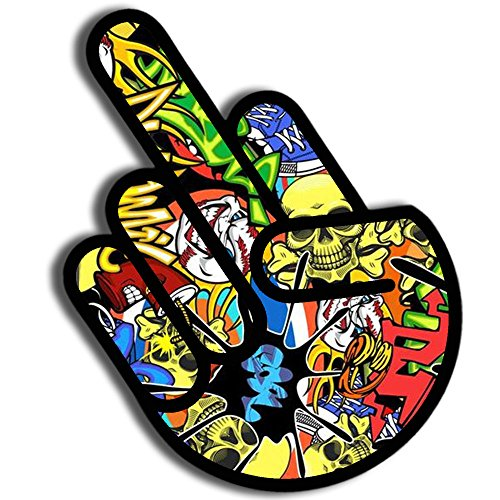 Skino 2x Pegatinas Vinilo Pegatinas Adhesivos Divertido Hand Mano Bomb Dedo Medio...