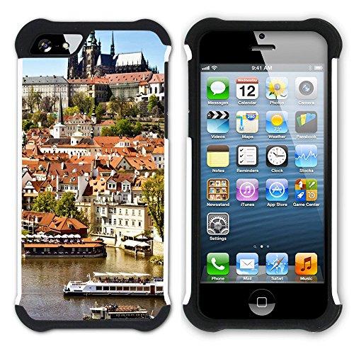 Graphic4You Prag Tschechische Republik Postkarte Aussicht Hart + Weiche Kratzfeste Hülle Case Schale Tasche Schutzhülle für Apple iPhone SE / 5 / 5S Design #11