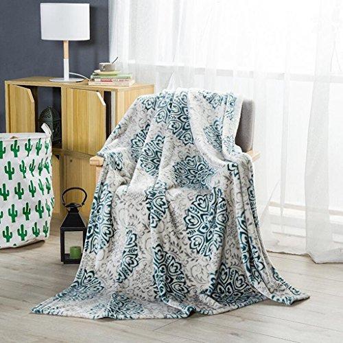 Xuan - worth having Silber Grün Blumenmuster Winter Flanell Verdickung Decke Nickerchen Bett Auskleidungen ( größe : 200*230cm )