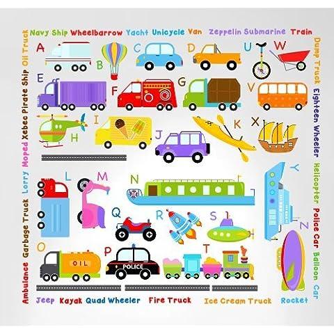Innovative Stencils 3004 Cars Transportation Alphabet Peel and Stick Wall Nursery Kids Educational Decals Stickers by Innovative Stencils