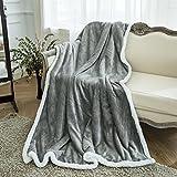LANGRIA Decke Kuscheldecke zwei-Seitig Weiche Warme Decke, Flanell / Sherpa, Atmungsaktiv, Leicht, Umweltfreundlich, Pflegeleicht, 60 x 80 Zoll (150 x 200 cm) (Grau)