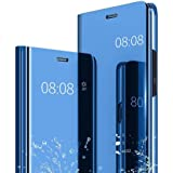 Indiacase Poly carbonate Mirror Flip Cover, Mobile Clear View Shockproof Plating Mirror Flip Stand Case Compatible with Samsu