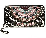 Damen Geldbörse Portemonnaie bunt groß mit Blumen-Print XL Damenbörse mit Reißverschluss und extra viele Kartenfächer in Farben Schwarz Blau Beige Rosa Rot Pink von ESTABLISHED SEVENTY9, Farbe:Schwarz