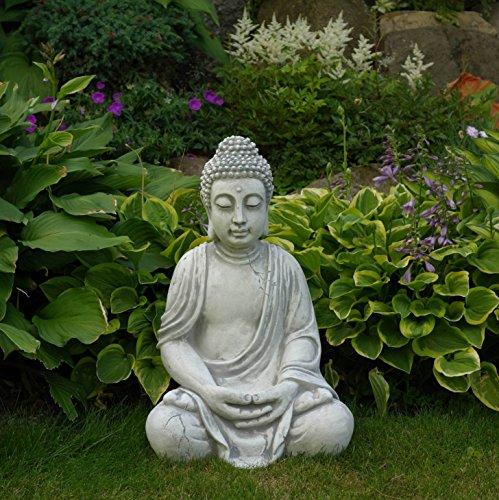 Wunderschöner, großer Buddha aus Steinguss, frostfest - 2