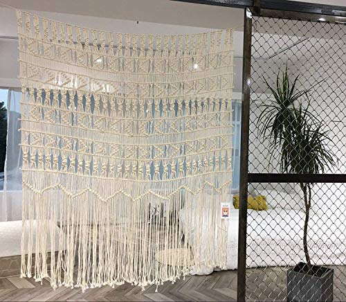 Cortina de macramé grande, Tejida a Mano, diseño Bohemio, para salón, bodas