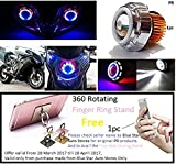 #6: PR Projector Lamp (Red and Blue) Led headlight Lens projector For - All Bikes(High beam, Low Beam, Flasher function)