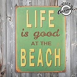 Genérico - Cartel de chapa vintage beach