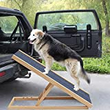 The Fellie Pet Ramp Dogs Portable Ladder Cats Height Adjustable with Non-slip Surface Pine Wooden Pets Ladder (L70xW35cm, H30-40cm)