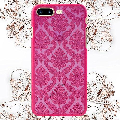 Fogeek Schutzhülle für iPhone 7 Plus Neue Modelle Harte Plastik Schutz Handy Hülle Case, Baroque Retro Court Lace Pattern (iPhone 7 Plus, Schwarz) Rose