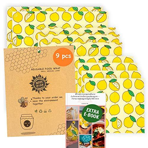 Annwise Bienenwachstuch, 9-Set, Wiederverwendbare und umweltfreundliche, 100% abbaubare Bienenwachstücher für Lebensmittel aus Jojobaöl und Baumwollstoff. Die nachhaltige Alternative zu Plastiktüten.