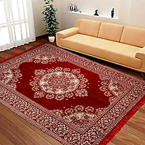Ab Home Decor Velvet Touch Abstract Chenille Carpet, 7 feet (Length) x 5 Feet (Width), Maroon