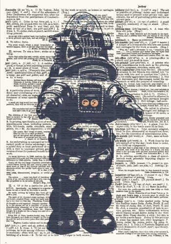 Retro Robot Vintage Dictionary Artwork Notebook: 7 x 10 Inch Ruled Notebook with Dictionary Art Stylized Cover