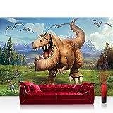 Vlies Fototapete 152.5x104cm PREMIUM PLUS Wand Foto Tapete Wand Bild Vliestapete - Cartoon Tapete Disney ARLO & SPOT Disney Kindertapete Dinos Dinosaurier braun - no. 2148
