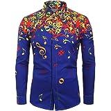 BELLA HXR Camicia Uomo Slim Fit Maglia A Maniche Lunghe,con Stampa di Note Musicali,LIM,Originale Camicie Elegante con Botton
