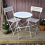 Alessia Ensemble Bistrot - Blanc | Table Pliante Blanche Avec Chaises Assorties