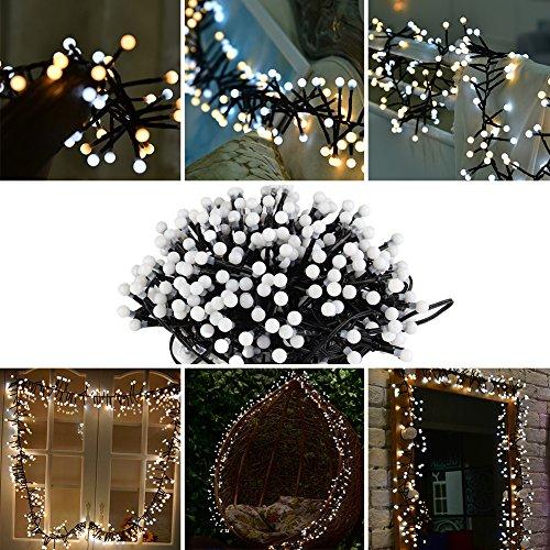 eter 400 Kugel LEDs Innen und Außen LED Streifen Dekoration für Terrasse Garten Schlafzimmer Geburtstag Hochzeit Weihnachten Ostern Party (Weiß und Warmweiß) (Ostern Rasen Dekorationen)