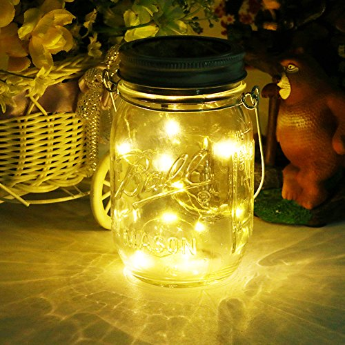 Mason Jar Licht Solar LED Glas Hängeleuchte Outdoor String Laterne Dekoration für Zuhause Party Garten Hochzeit (Outdoor-halloween-dekoration)