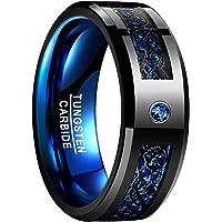 NUNCAD Anello Uomo Donna con Drago Celtico Nero,Fibra di Carbonio Blu e Zircone,Anello Tungsteno 8mm per Matrimonio…