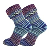 TippTexx24 2 Paar Wollsocken im Skandinavien Style mit Umschlag, Blau Lila, 35/38
