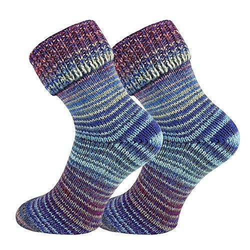 TippTexx24 2 Paar Wollsocken im Skandinavien-Style mit Umschlag, Blau-Lila, 43/46
