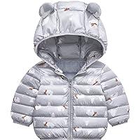 Toddler Kids Boys Girls Winter Cartoon Zipper Hooded Thick Coat Outwear Jacket Windproof Outerwear Down Jacket