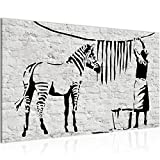 Bilder Washing Zebra - Banksy Graffiti Wandbild Vlies - Leinwand Bild XXL Format Wandbilder Wohnzimmer Wohnung Deko Kunstdrucke Grau 1 Teilig -100% MADE IN GERMANY - Fertig zum Aufhängen 303214a