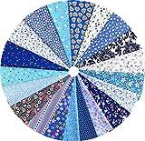 Grannycrafts 20 Pezzi 20x30cm Tessuti Stampato Cotone Tessuti e Stoffe a Metro Cotone Tessuti Stoffe per Patchwork Scampoli Stoffa Fatansia per Cucito Creativo Serie Blu