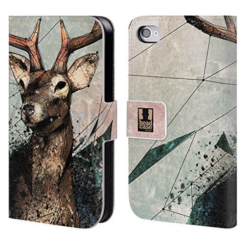 Head Case Designs Saison De La Chasse Polysketch Étui Coque De Livre En Cuir Pour Apple iPhone 4 / 4S Saison De La Chasse