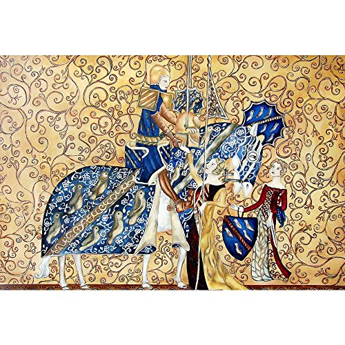 Pitaara Box Medival Artwork with King & Queen Canvas Painting MDF Frame 20.6 X 14Inch (Queen-size-split-box)