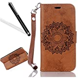 Galaxy A5 2017 Wallet Case,Galaxy A5 2017 Case,Leeook Retro Elegant Fashion Brown Embossed Mandala Flower Pattern Book Design Flip Pu Leather Notebook Case Cover with Stand Function Card ID Slot Holder Magnetic Closure Secure Lock Fordable Strap Protective Skin Bumper Case Cover for Samsung Galaxy A5 2017 + 1 x Black Stylus