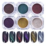 CoulorButtons 1 Box 1.2g 3D Cat Eye Magnet Nail Powder Magnetic Glitter Pigment Dust UV Gel Manicure Nail Art Materials (6 colors)