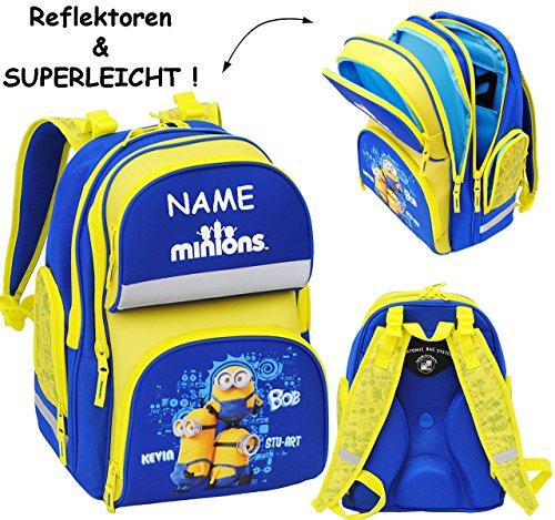 """Schulranzen / Rucksack - """" Minions - Ich einfach unverbesserlich """" - incl. Name - SUPERLEICHT & ergonomisch + anatomisch - großer Schulrucksack - mit Reflektor - Tasche - wasserfest & beschichtet - Er"""