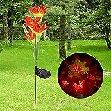 Winterworm Solar Powered LED Lily Flower Farbwechsel Energiesparend LED Lampe Solar Gartenstecker Licht für Outdoor Yard Rasen Balkon Leuchten in der Dunkelheit Orange