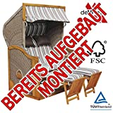 BEREITS MONTIERT ! STRANDKORB DEVRIES PURE GREENLINE 170 XL DESSIN 628, FSC-ZERTIFIZIERT