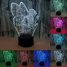 coloré hada niña ala de mariposa LED Night Light 3d Hologramme lámpara Cambio de Color Décor