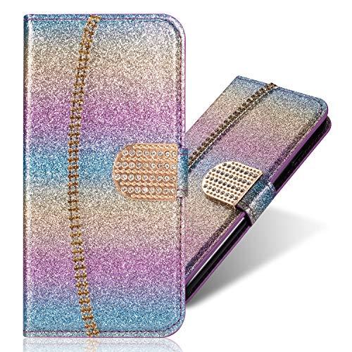 Bookstyle für Samsung J4 Plus 2018,Stand Funktion Ledertasche Musterg Diamond Love Hearts Sparkle Slim Bling Glitter Glitzer Karteneinschub Magnetverschluss Flip Wallet Hülle Schutzhülle Handy-cover Rainbow Glitter