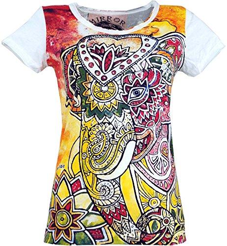 GURU-SHOP, Camiseta Espejo, Elefante/Blanco, Algodón, Tamaño:M (38), Camisas Seguras