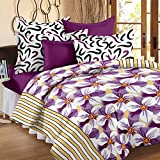 Story@Home Jasmin Flower 186 TC Cotton Double Bedsheet with 2 Pillow Cover - Multicolour