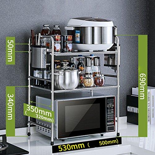 Anna Étagères de Cuisine Grilles de Cuisine en Acier Inoxydable Micro-Ondes étagère 3 étages Multi-étages épices Stockage Four Grille (Taille : 53CM-A3)