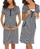 UNibelle Damen Stillpyjama Nachtwäsche Schwangerschaft Schlafanzüge Umstandspyjama Kurz Nachthemden Stillzeit YDF3 S