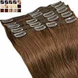 S-noilite® Extensiones de clip de pelo natural cabello humano #06 Marrón claro - DOUBLE WEFT muy grueso - 100% Remy hair – 8 piezas 18 clips (25cm-110g)