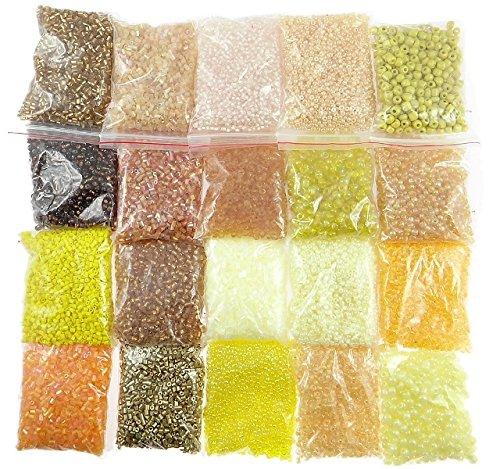 Perlen Gold Topas Gelb Set 2mm 3mm 4mm 6mm Glasperlen 20 Pack 400g Seed Beads AM20 (Gelb Topas Modeschmuck)