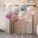 Vincenza Grand CONFETTIS BALLONS 5 couleurs feuille papier transparent gros ballons clair Votre joyeux anniversaire ou Fête Naissance Bébé 36' ou 18' - Rose, 36'