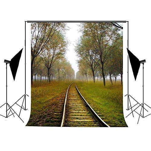 Photography Hintergrund Hintergründe Baumwolle waschbar wiederverwendbar keine Falten Herbst Szene Train Track Forest Fotografie Hintergrund Hochzeit Hintergrund (Halloween-herbst-hintergründe)